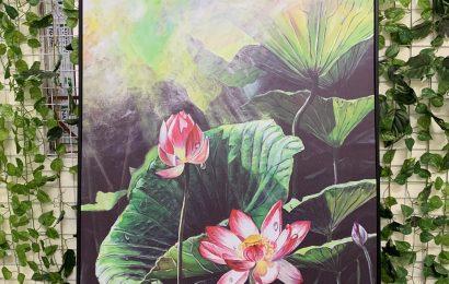 Vẻ đẹp của tranh sơn dầu Hoa sen