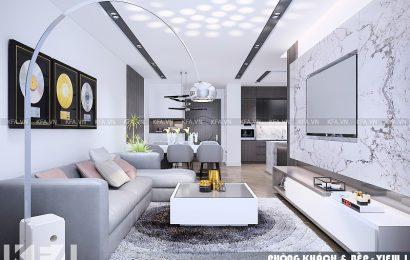 Thiết kế nội thất chung cư 64m2 nhà chị Mùi đẹp
